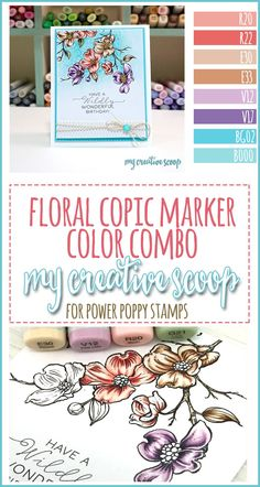 Power Poppy Copic Marker Floral Color Combo - My Creative Scoop Copic Marker Art, Copic Pens, Copic Art, Copic Sketch, Sketch Markers, Copics, Prismacolor, Card Making Tutorials, Making Ideas
