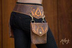 Mohana Leather Pocket Belt Bag Speckled Brown by MohanaDesigns