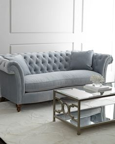 """Windfield Sofa, Hardwood frame. Polyester/cotton upholstery. Sinuous-spring feather/down seating; mortise-and-tenon frame construction. 92""""W x 45""""D x 35""""T. Handcrafted in the USA. Boxed weight, approximately 155 lbs."""