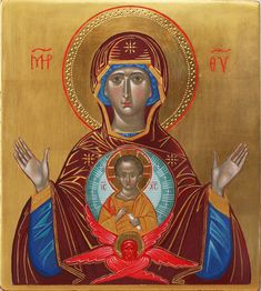 Icon of the Virgin of the Sign Virgin Orans  Our Lady of the Sign by Guillem Ramos-Poqui 2010