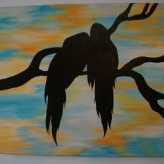 SALE Birds silhouettes canvas acrylic painting  les amoureux | MJCREATION - Painting on ArtFire