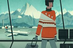 Winter and skiing graphics at the airport from chicago magazine by Emiliano Ponzi