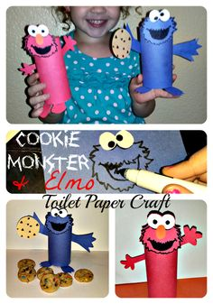 Cheap Elmo and cookie monster toilet paper roll crafts for kids!