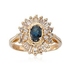 Ross-Simons - C. 1980 Vintage .60 Carat Sapphire and .75 ct. t.w. Diamond Ring in 14kt White Gold. Size 5.75 - #795585