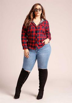 Plus Size Clothing | Plus Size Plaid Hooded Zip Down Flannel Top | Debshops