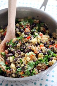 Spicy Quinoa and Black Beans | This easy, one-pot, vegan-friendly dish is sure to satisfy anyone who loves bold flavor! Nutrient-rich grains,…