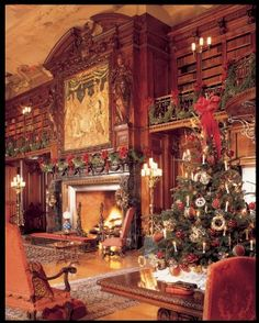 Biltmore House in Ashville NC - The black marble fireplace surround and walnut overmantle in George Vanderbilt's impressive library are decorated with garlands made by the Biltmore floral staff during the holiday season.