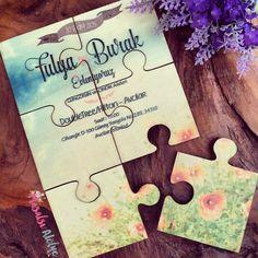 Puzzle Davetiye, Davetiye, Düğün Davetiyesi, Invitation, Wedding Invitation, Creative Invitation, Puzzle Invitation