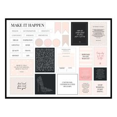 Create your very own vision board in your home or office with these printable elements. Whatever your dream, get inspired, get motivated, and Make It Happen! VivaMK The New Name in Home & Online Shopping VivaMK The New Name in Home & Online Shopping Vision Board Template, Vision Board Ideas Diy, Vision Boards Examples, Digital Vision Board, Goal Board, Creating A Vision Board, Visualisation, 2020 Vision, Make It Happen