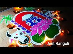 Pongal special creative and beautiful kolam. Pongal rangoli easy and innovative. Rangoli Side Designs, Simple Rangoli Border Designs, Easy Rangoli Designs Diwali, Rangoli Designs Latest, Free Hand Rangoli Design, Rangoli Patterns, Small Rangoli Design, Rangoli Ideas, Rangoli Designs With Dots