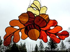 Stained Glass Suncatcher, Autumn Oak Leaves and Acorns, Fall Colors, Home & Garden Decor, Fall Season Decor, Warm Colors, Glass Window Panel