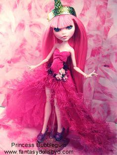 Commission for a Princess Bubblegum doll. Made from Draculaura Monster High Doll www.fantasydollsbyd.com