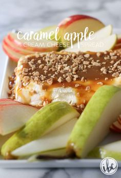 Caramel Apple Cream Cheese Spread  (keto) - cream cheese, caramel sauce, toffee bits; serve with apple and pear slices; pretzels, crackers, bagel chips, etc.