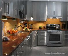 muebles de cocina en acero inoxidable - Buscar con Google | Pan pa ...