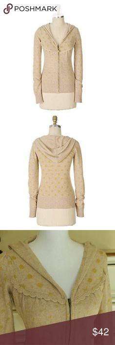 """Anthropologie Polka Dot Hoodie Vintage """"polka-dot hoodie"""" in river sand by Moth. ?Sold in the 2007 Giving Anthropologie catalog. """"A spot-on cardigan blended of cotton, merino wool, nylon, angora and cashmere. ?Zip front. Imported."""" This tan colored sweater is size Medium, but fits small. ?Measures 17"""" across. Anthropologie  Sweaters Cardigans"""