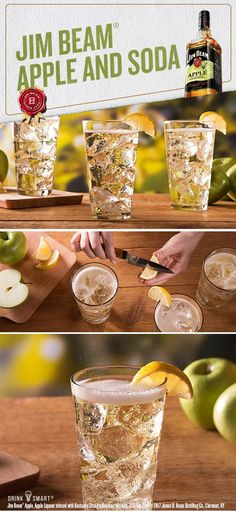 Try a Jim Beam® Apple and Soda for a refreshingly crisp taste. Mix 1 part Jim Beam® Apple with 2 parts club soda and garnish with a lemon wedge for an always in season taste. Jim Beam® Apple, Apple Liqueur infused with Kentucky Straight Bourbon Whiskey, 35% Alc./Vol. ©2017 James B. Beam Distilling Co., Clermont, KY