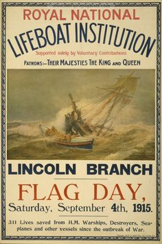Royal National Lifeboat Institution, Lincoln Branch, Flag day, War propaganda poster, pictures and photos