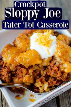 Super easy to make Crock Pot Tater Tot Sloppy Joes Casserole Recipe. Made with ground beef the entire family will love this slow cooker recipe. The crockpot does all the work and you have a great family dinner. This is great comfort food for a crowd.