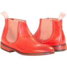 PAOLO IANTORNO Kimberly Dip Dyed Red Chelsea Boots ($329) ❤ liked on Polyvore featuring shoes, boots, ankle booties, red, antique boots, chelsea bootie, beatle boots, lined boots and red chelsea boots