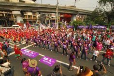 Filipino activists hold a 'One Billion Rising' dance protest near the Philippine presidential palace