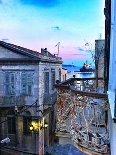 Balcony in Hermoupolis, Syros island, Greece.