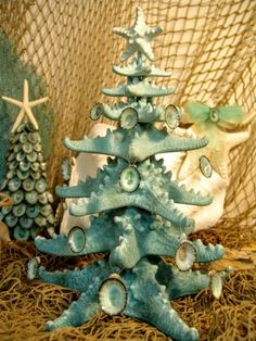 glittery ombre starfish tree spruce of the sea pale pool aqua blue limpet shells coastal christmas beach ocean nautical holiday decor