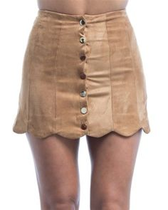 Suede Mini with button up front detail. Tan