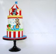 Birthday Circus Cake - Cake by Leah Jeffery Circus Theme Cakes, Themed Cakes, Circus Birthday, Circus Party, Circus Wedding, Carnival Parties, Carnival Costumes, Birthday Cakes, Birthday Parties