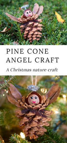 Crafts Ideas Pine Cone Angel Ornaments are a charming Christmas nature craft for kids. This ornament is simple, sweet, and fun for crafters of all ages. Best of all, it requires minimal materials, most of which are found on the forest floor. Christmas Trees For Kids, Christmas Activities, Christmas Tree Ornaments, Christmas Art, Christmas Pine Cones, Forest Crafts, Nature Crafts, Angel Crafts, Natural Christmas