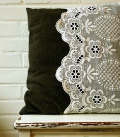 DIY - Recycle your old lace curtains and make them into cute lace pillow cases! The third and last pillow case for my trio of vintage pillows! Sewing Pillows, Diy Pillows, Decorative Pillows, Throw Pillows, Lace Pillows, Pillow Ideas, Cushions, Cushion Ideas, Green Pillows