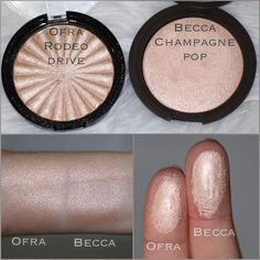 I found a very close dupe! The @ofracosmetics Highlighter in Rodeo drive looks almost identical to @beccacosmetics highlighter in Champagne pop. In the pan, Rodeo Drive looks more golden but can you really tell the difference in the arm swatch? These are both golden with a hint of peachiness. I can't even remember what the exact subtle difference was when I was comparing them last week. I just remember they were very similar swatched. Becca pressed Illuminators are $38. Ofra Rodeo Drive is