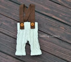 Newborn Photography Pants  Upcycled Cream Cable Knit Suspenders by ToodleBugCreations, $23.00