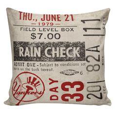 New York Yankees Vintage Baseball Ticket Stub Pillow by Elliott Heath Designs Boys Room Sports Theme Men Gift Sport Memorabilia