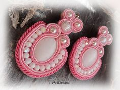 Handmade soutache earring and necklace jewelry set pink & white extravagant