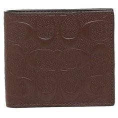 80381933f81897 NWT Coach Mens Bifold Coin Wallet Mahogany Signature Logo Crossgrain F75363