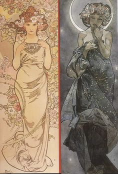 Alphonse Mucha .Flowers and Moonlight