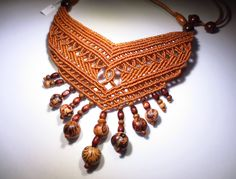 Macrame marrone Collana Handmade con semi di PapachoCreations