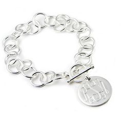 HandPicked: Silver Monogram Charm Bracelet ❤ liked on Polyvore featuring jewelry, bracelets, silver charm bracelet, charm bracelet, silver jewellery, monogram charm bracelet and monogram jewelry
