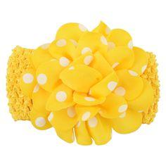 Gorgeous polka dot flower headband in yellow. (One size) £1.49
