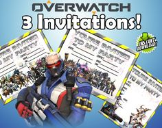 3 Overwatch Party Invitations by ModernPartyPlace on Etsy https://www.etsy.com/listing/515523757/3-overwatch-party-invitations