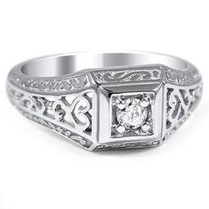 14K White Gold The Hosta Ring - more wonderful detail!