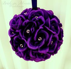Wedding flower balls flower girl pomander purple bouquet kissing ball wedding decoration on Etsy, $30.00