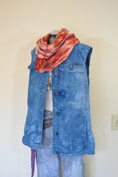ef0f5be59dc Blue 20W XL Jean VEST Jacket - Royal Blue Dyed Upcycled Woman Within Denim  Trucker Vest - Adult Womens Plus Size Extra Large (54
