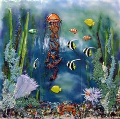 Glass Art Mural Underwater Scene in Kitchen Backsplash Tom and Sandra Glass Wall Art, Sea Glass Art, Stained Glass Art, Window Glass, Water Glass, Clear Glass, Mosaic Art, Mosaic Glass, Fused Glass