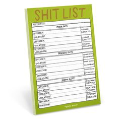 Knock Knock Hand-Lettered Shit List Pad is a funny notepad gift for coworkers, friends (or annoying people). Knock Knock notepads are cute gifts for all.
