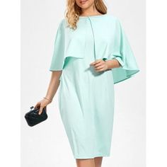 2018 Plus Size Sleeveless Sheath Dress and Ruffle Cape TURQUOISE XL In Plus Size Dresses Online Store. Best Short Sleeve Black Dress For Sale | DressLily.com