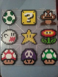 Mario Perler Bead Ornaments by AshMoonDesigns