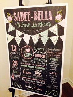"20""x30"" DIY Digital Shabby Chic Chalkboard Girly 1st Birthday Baby Shower Welcome Sign Board Poster"