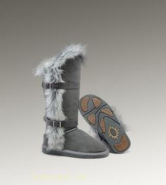 UGG Fox Fur Tall 1984 Grey Boots
