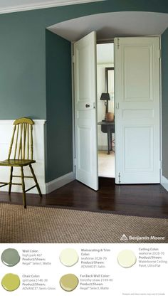 #ColorTrends2015: (wall) Regal Select, Matte, High Park 467 (chair) ADVANCE, Semi-Gloss, Split Pea 2146-30 (wainscoting & trim) ADVANCE, Satin, Seahorse 2028-70 (ceiling) Waterborne Ceiling Paint, Ultra Flat, Seahorse 2028-70 (far back wall) Regal Select, Matte, Timothy Straw 2149-40